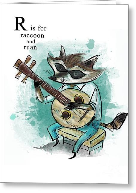 Animal Alphabet Greeting Cards - R is for Raccoon Greeting Card by Sean Hagan