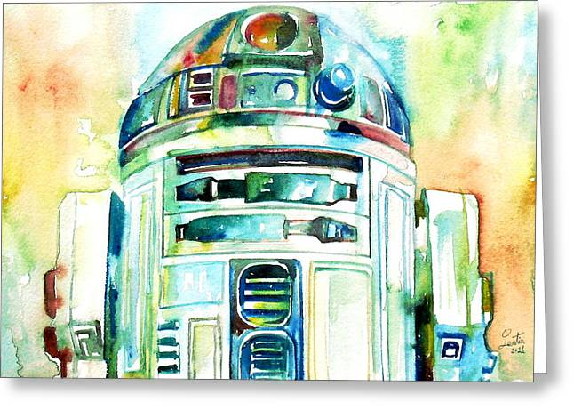 Images Paintings Greeting Cards - R2-d2 Watercolor Portrait Greeting Card by Fabrizio Cassetta