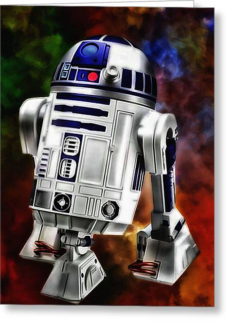 Astronauts Mixed Media Greeting Cards - R2d2 Greeting Card by Todd and candice Dailey