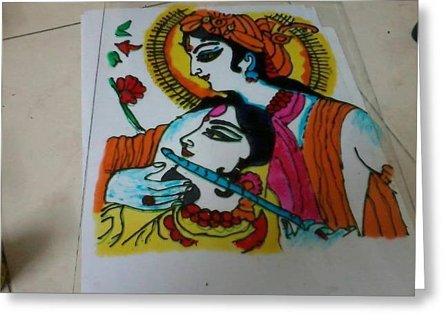 With Glass Art Greeting Cards - Raadha- Krishna Greeting Card by Monu Rekhi