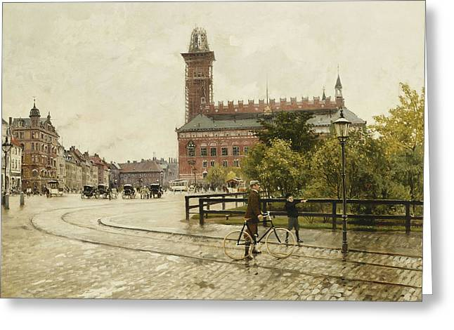 Mid-adult Greeting Cards - Raadhuspladsen, Copenhagen, 1893 Oil On Canvas Greeting Card by Paul Fischer