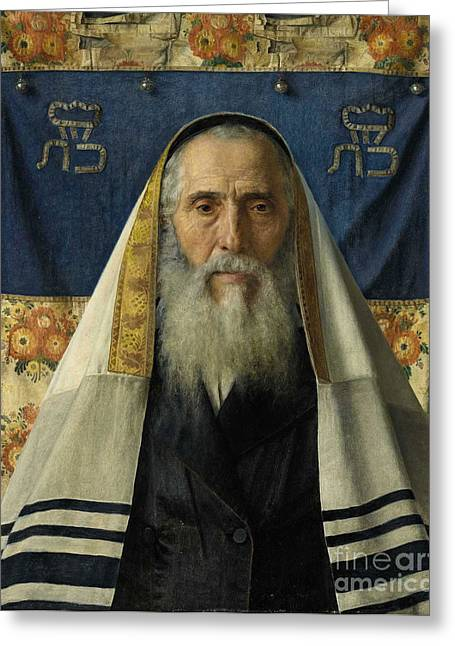 Orthodox Rabbi Greeting Cards - Rabbi with prayer shawl Greeting Card by Celestial Images