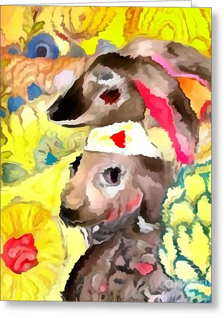Worn In Paintings Greeting Cards - Rabbit 1 Greeting Card by Amy Sorrell