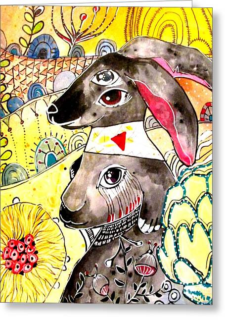 Worn In Paintings Greeting Cards - Rabbit 2 Greeting Card by Amy Sorrell