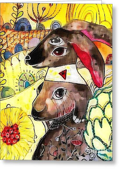 Worn In Paintings Greeting Cards - Rabbit Greeting Card by Amy Sorrell