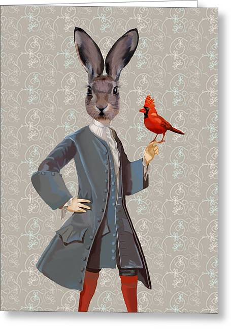 Bird Framed Prints Greeting Cards - Rabbit and Bird Greeting Card by Kelly McLaughlan