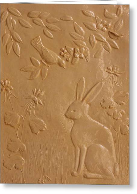 Blossom Reliefs Greeting Cards - Rabbit and Robin Greeting Card by Deborah Dendler