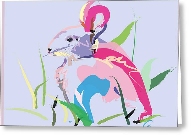 Modern Art Greeting Cards - Rabbit - Bunny In Color Greeting Card by Go Van Kampen