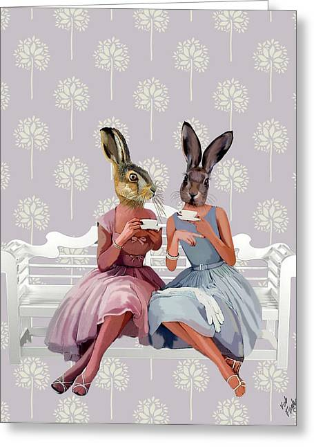 Wall Decor Framed Prints Greeting Cards - Rabbit Chat Greeting Card by Kelly McLaughlan