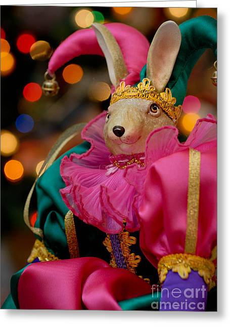 Hair Ornaments Greeting Cards - Rabbit Court Jester Greeting Card by Amy Cicconi