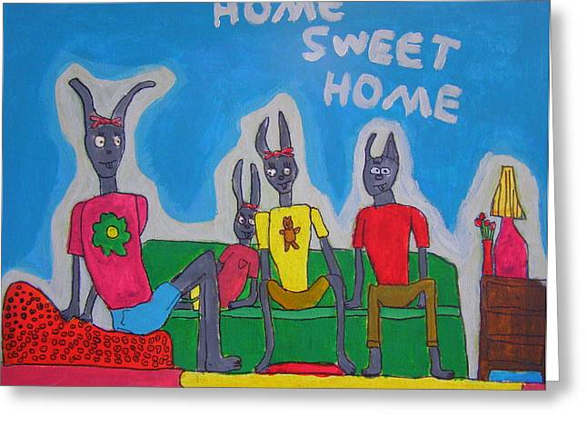 Brandon Drucker Greeting Cards - Rabbit Family Greeting Card by Brandon Drucker