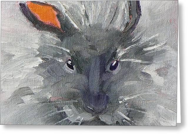 Grumpy Face Greeting Cards - Rabbit Fluff Greeting Card by Nancy Merkle