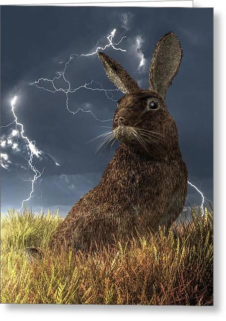 Hare Digital Art Greeting Cards - Rabbit in a Lightning Storm Greeting Card by Daniel Eskridge