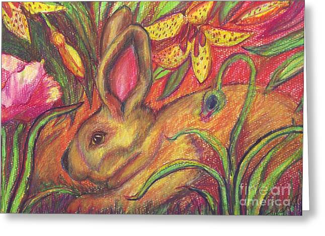 Recently Sold -  - Wild Life Drawings Greeting Cards - Rabbit In Flowers Greeting Card by Susan  Brown    Slizys art signature name