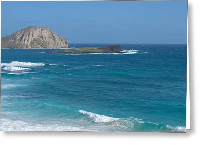 Ocean Shore Greeting Cards - Rabbit Island Panorama Greeting Card by Brian Harig
