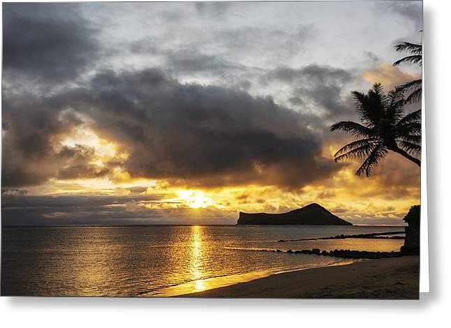 His Light Greeting Cards - Rabbit Island Sunrise - Oahu Hawaii Greeting Card by Brian Harig