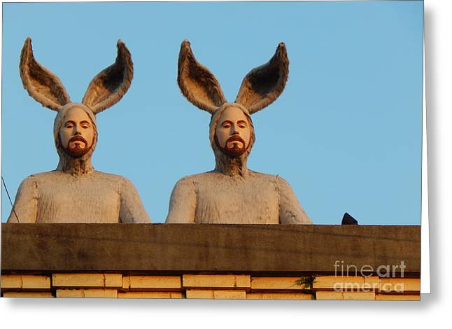 New Orleans Louisiana Framed Prints Greeting Cards - Rabbit People On A Rooftop In New Orleans Louisiana Greeting Card by Michael Hoard
