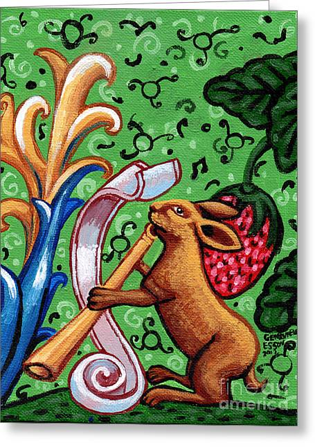 Strawberry Art Greeting Cards - Rabbit Plays The Flute Greeting Card by Genevieve Esson