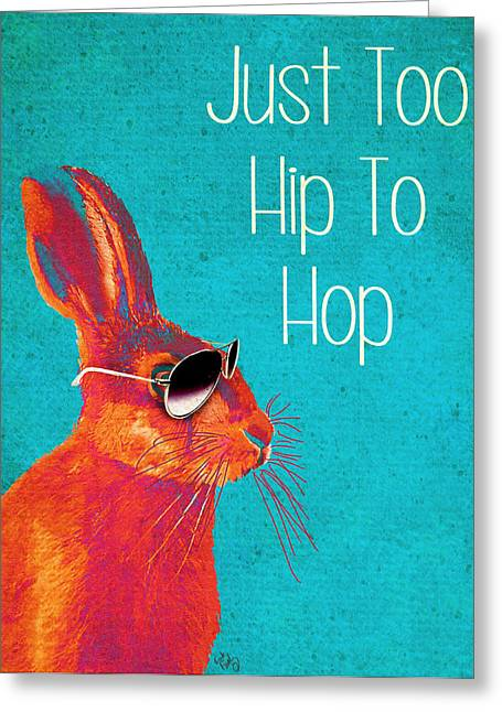 Wall Framed Prints Digital Greeting Cards - Rabbit Too Hip To Hop Blue Greeting Card by Kelly McLaughlan