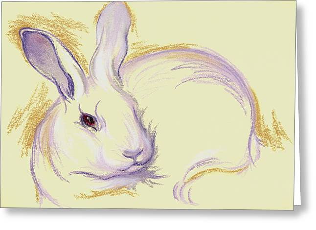 Creature Pastels Greeting Cards - Rabbit with a Red Eye Greeting Card by MM Anderson
