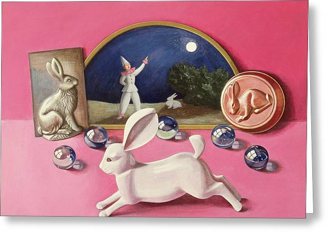 Model Photographs Greeting Cards - Rabbits And The Moon Wc On Paper Greeting Card by Tomar Levine