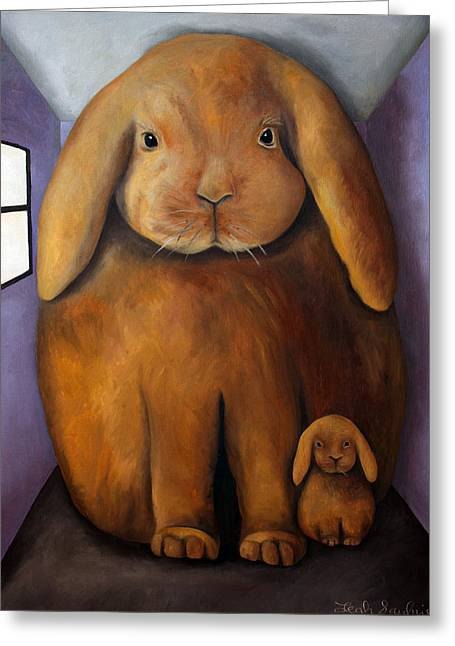 Hare Greeting Cards - Rabbits Den Greeting Card by Leah Saulnier The Painting Maniac