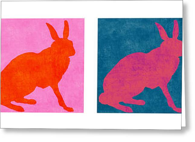 Rabbit Greeting Cards - Rabbits Four Across Greeting Card by Carol Leigh