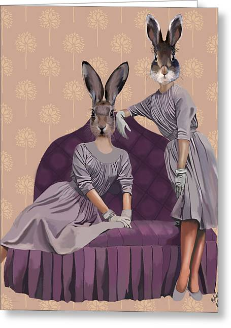 Wall Decor Framed Prints Greeting Cards - Rabbits In Purple Greeting Card by Kelly McLaughlan