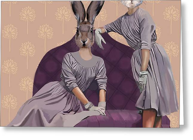 Rabbits In Purple Greeting Card by Kelly McLaughlan