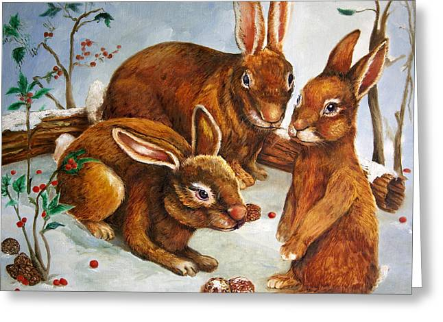 Hare Greeting Cards - Rabbits in Snow Greeting Card by Enzie Shahmiri