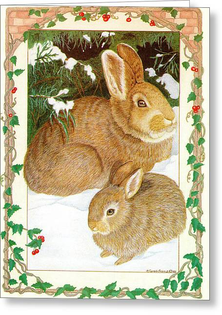 Just Right Greeting Cards - Rabbits in the snow Greeting Card by Sally  Evans