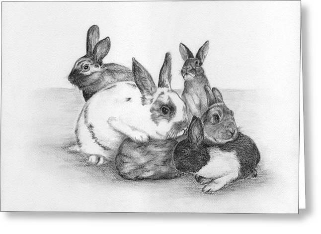 Rabbits Rabbits And More Rabbits Greeting Card by Nan Wright