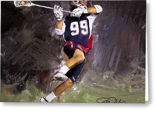 Lacrosse Greeting Cards - Rabil Lacrosse Greeting Card by Scott Melby