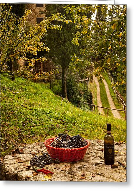 Wine Grapes Digital Art Greeting Cards - Raccolta Greeting Card by John Galbo