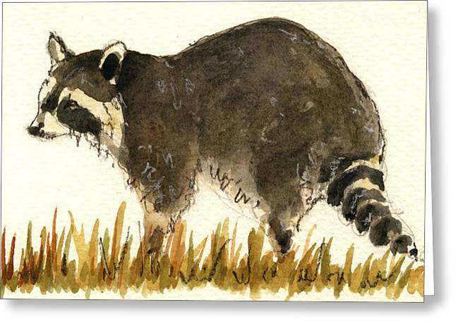Raccoon Paintings Greeting Cards - Raccoon in the grass Greeting Card by Juan  Bosco