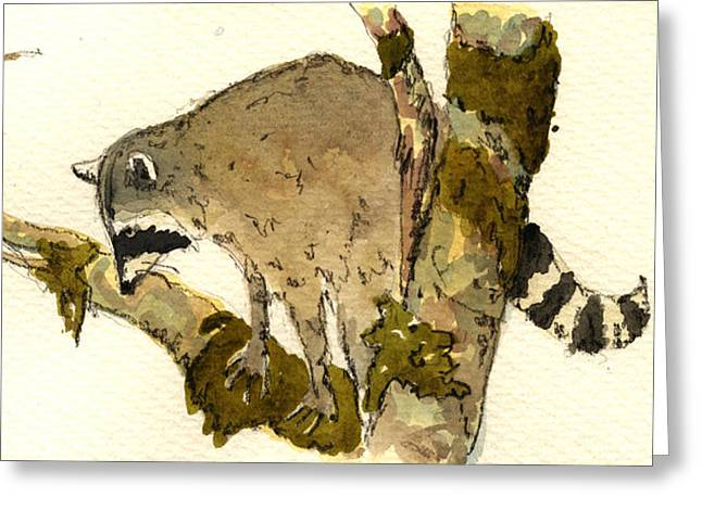 Raccoon On A Tree Greeting Card by Juan  Bosco