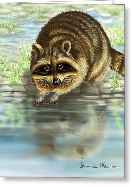 Raccoon Digital Art Greeting Cards - Raccoon Greeting Card by Veronica Minozzi