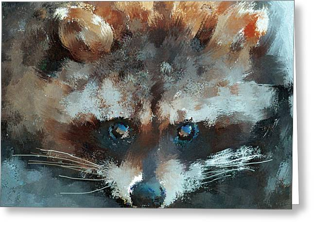 Raccoon Digital Art Greeting Cards - Raccoon Greeting Card by Yury Malkov