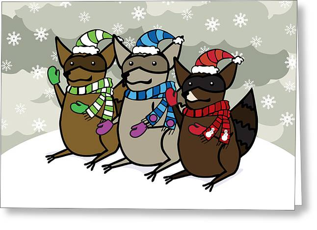 Cute Digital Art Greeting Cards - Raccoons Winter Greeting Card by Christy Beckwith