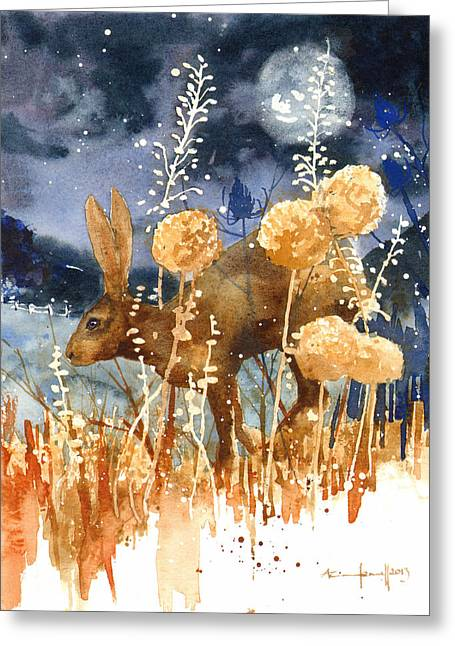 Hare Greeting Cards - Race Against the Moon Greeting Card by Alison Fennell