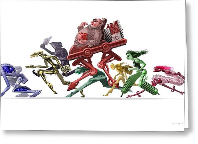 Science Fiction Greeting Cards - Race Greeting Card by Augustinas Raginskis