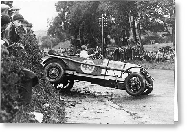 Race Car Driver Skids Greeting Card by Underwood Archives