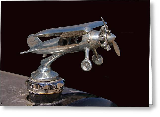 Collector Hood Ornament Greeting Cards - Race Car Hood Ornament  Greeting Card by Nick Gray