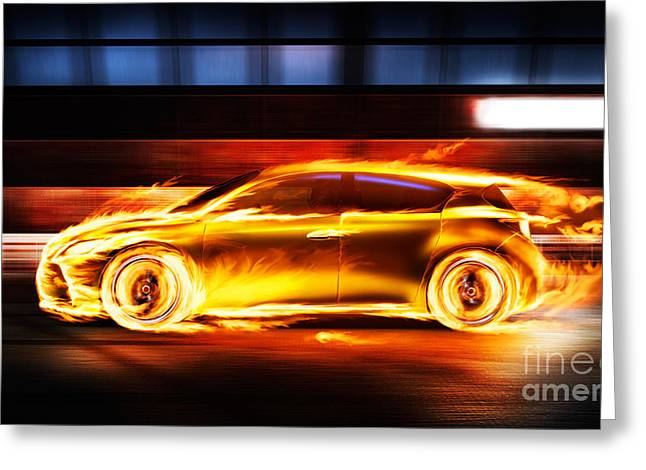 Rally Greeting Cards - Race car in burning flames in a tunnel Greeting Card by Oleksiy Maksymenko