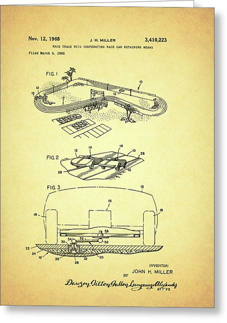 1968 Drawings Greeting Cards - Race Car Track with Race Car Retaining Means Patent 1968 Greeting Card by Mountain Dreams