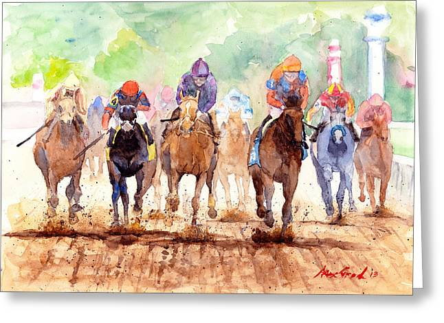 Race Day Greeting Card by Max Good