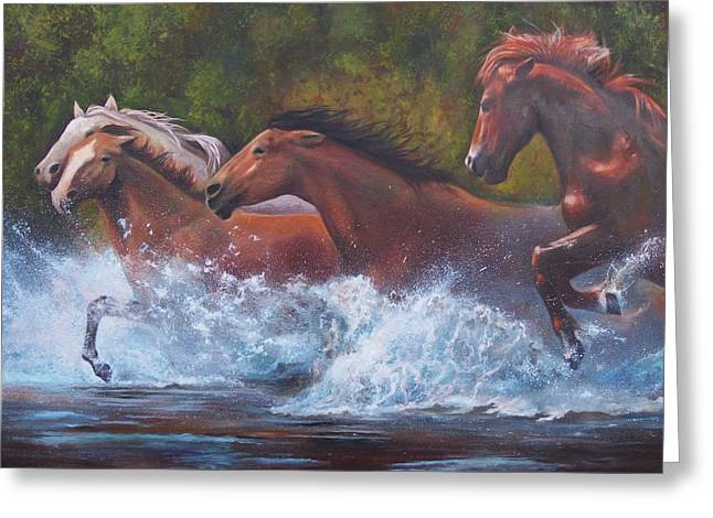 Chatham Paintings Greeting Cards - Race For Freedom Greeting Card by Karen Kennedy Chatham