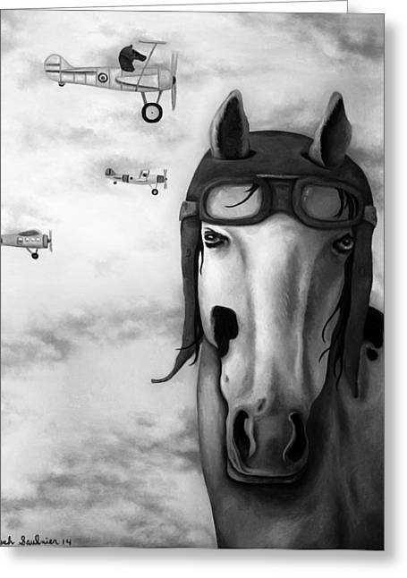 Leah Greeting Cards - Race Horse Bw Greeting Card by Leah Saulnier The Painting Maniac