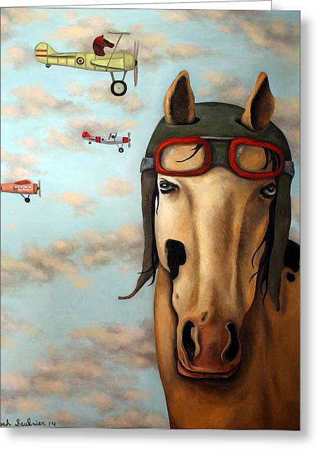 Leah Greeting Cards - Race Horse edit 2 Greeting Card by Leah Saulnier The Painting Maniac