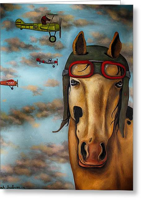 Leah Greeting Cards - Race Horse edit 3 Greeting Card by Leah Saulnier The Painting Maniac